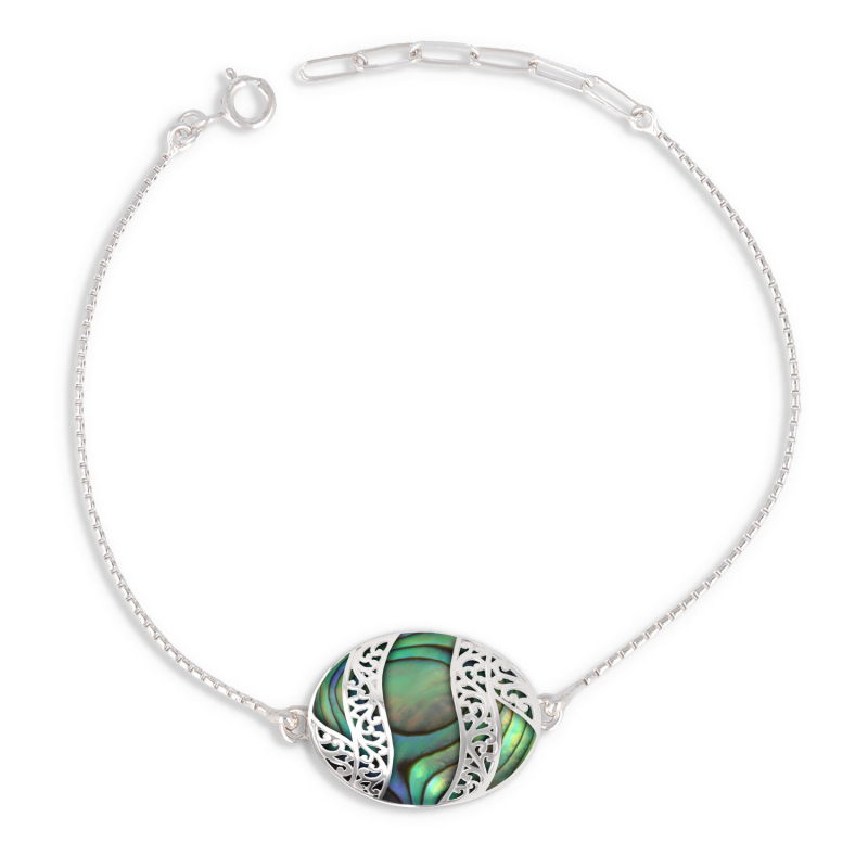 Cabochon bracelet of mother-of-pearl abalone and silver lace 925 K