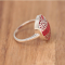 Red coral natural ring with 925-000 silverlacework