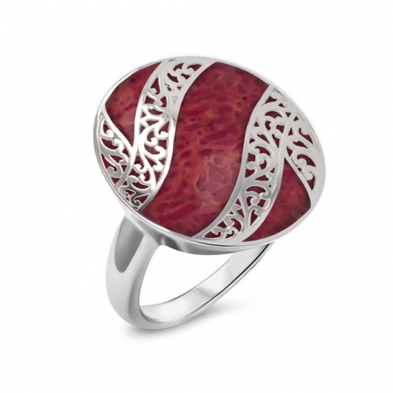 925 Sterling Silver Coral Oval Shape Ring