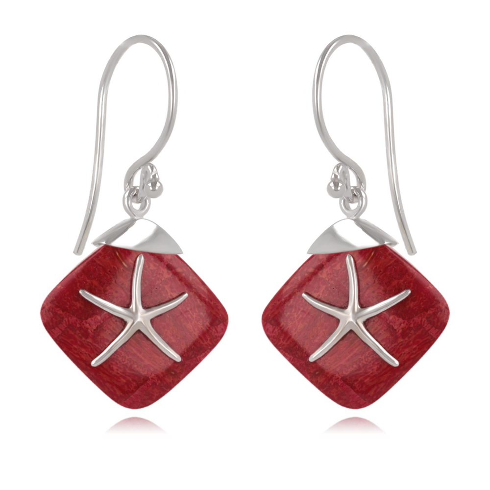 925 Sterling Silver Coral Starfish Earrings