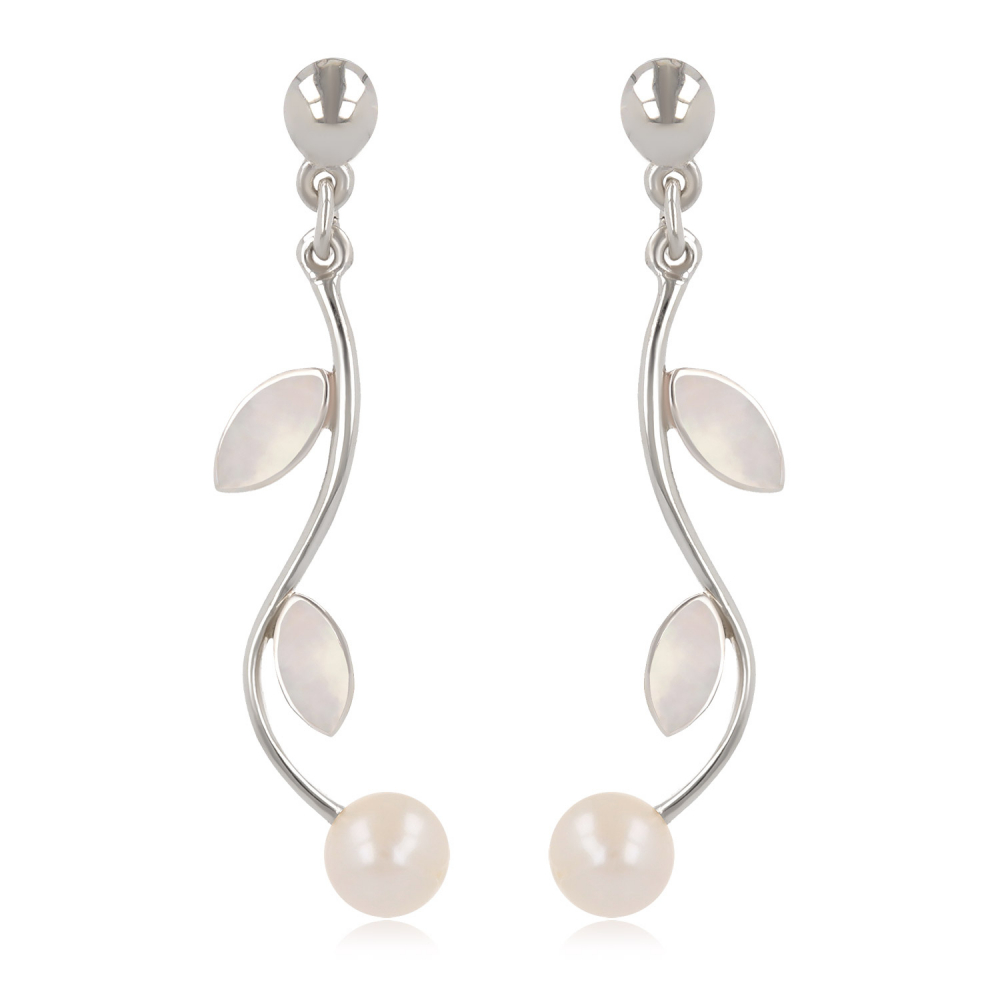 925 Sterling Silver White Mother-of-pearl and White Pearl Earrings