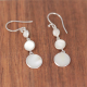 Gift jewelry 3 cabochons Dangle earrings Nacre White Sterling silver oval shape solid silver woman