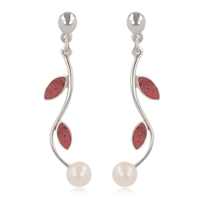 Women's Gift Idea-Dangle Earrings- Pearl White Mother of pearl- coral Petals- Sterling Silver-Women