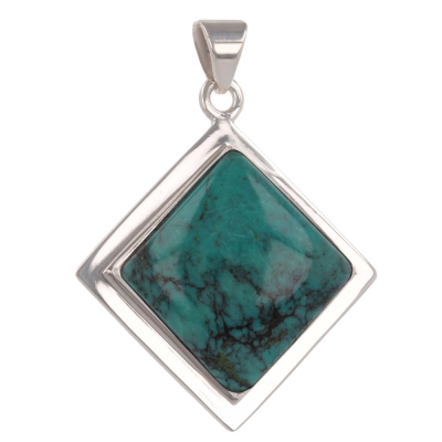 Personalized Gift Woman - Pendant - Labradorite-Square Shape - Sterling Silver - Woman