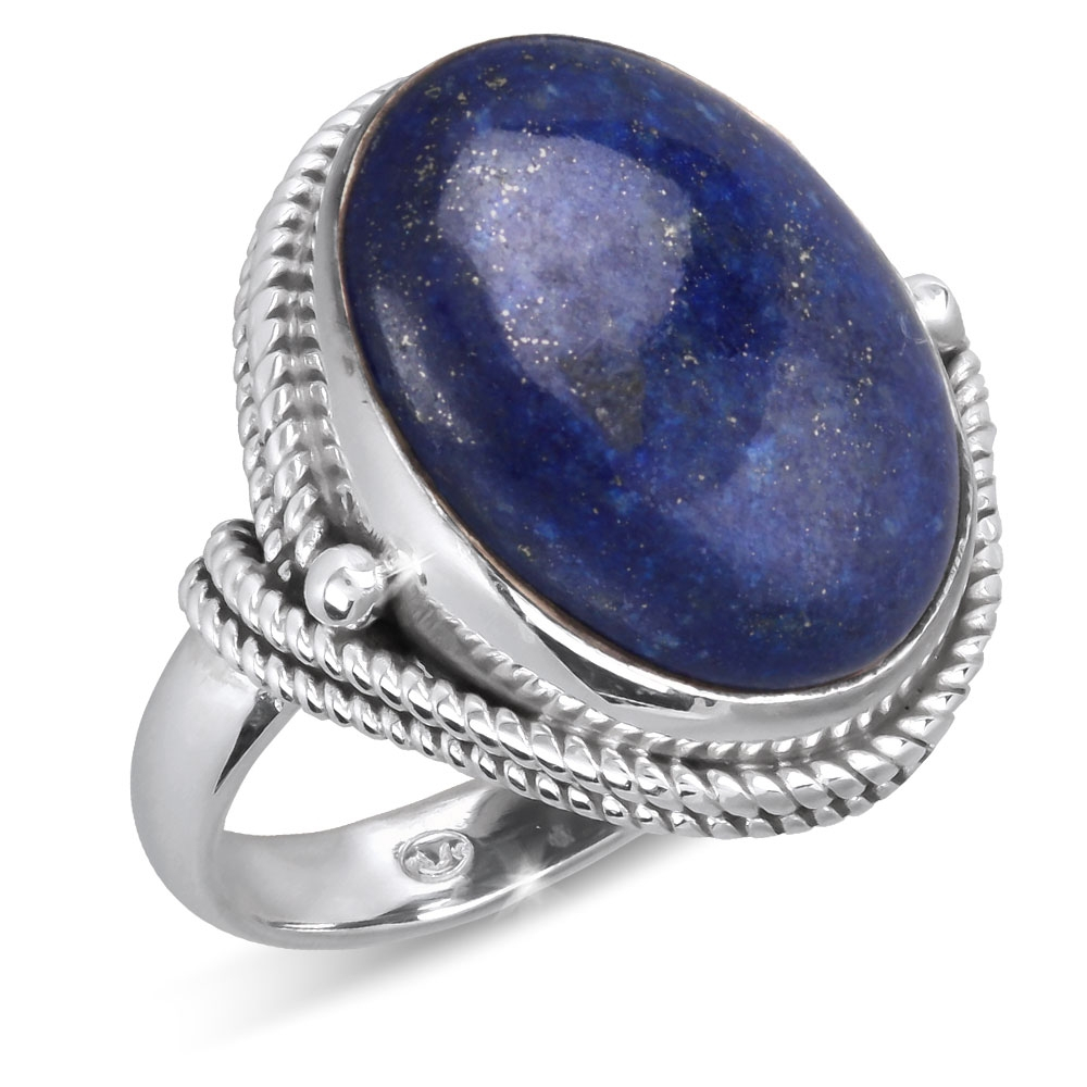 925 Sterling Silver Lapis Lazuli oval Shape Ring