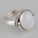 Gift Idea for her Moonstone Cabochon Ring Chains Silver Jewelry Women