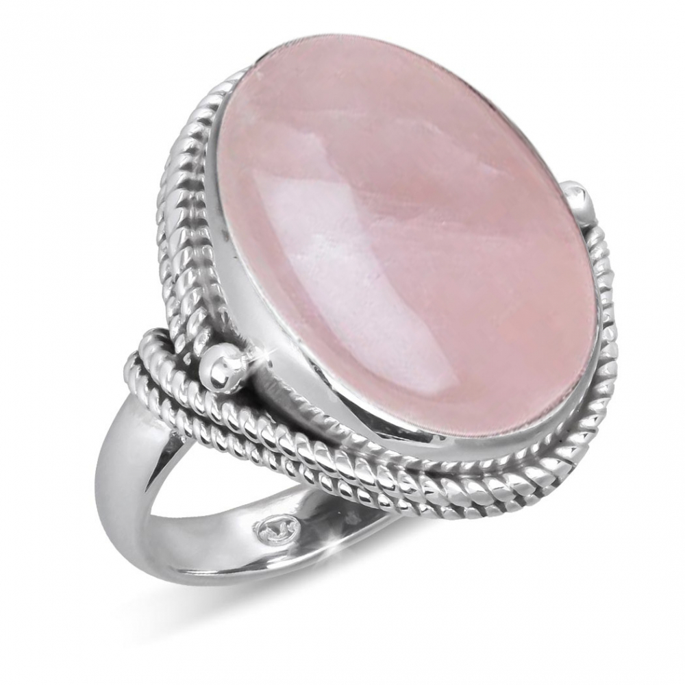 Ring in Pink Quartz set with a silver collar 925-000