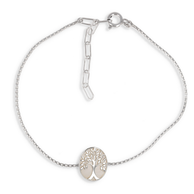 gift idea for women-Gift Jewelry Symbol Tree of Life-bracelet -white mother of pearl- Sterling Silver-Oval-Woman