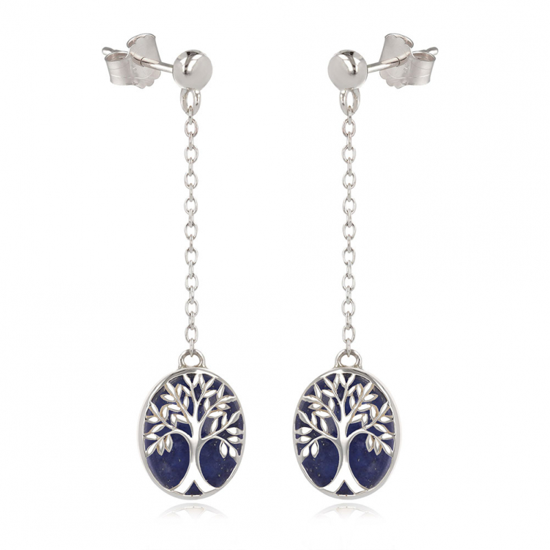 gift idea for women-Gift Jewelry Symbol Tree of Life-Earrings - Lapis Lazuli- Sterling Silver-Oval-Woman