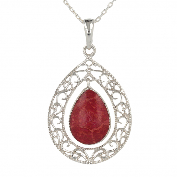 925 Sterling Silver coral Drop Shape Pendant