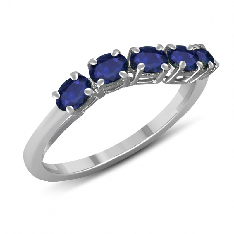 925 Sterling Silver 5 Sapphire Stones Ring
