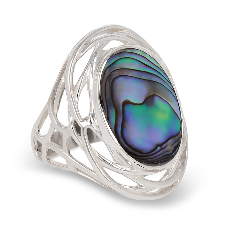 925 Sterling Silver Abalone mother-of-pearl Oval Shape Ring