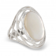 Anello cabochon ovale in corallo Silver Nest Woman Red