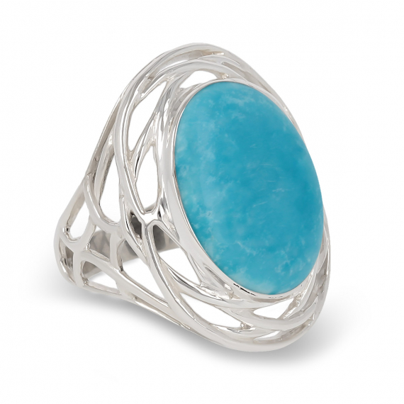 925 Sterling Silver Turquoise Oval Shape Ring