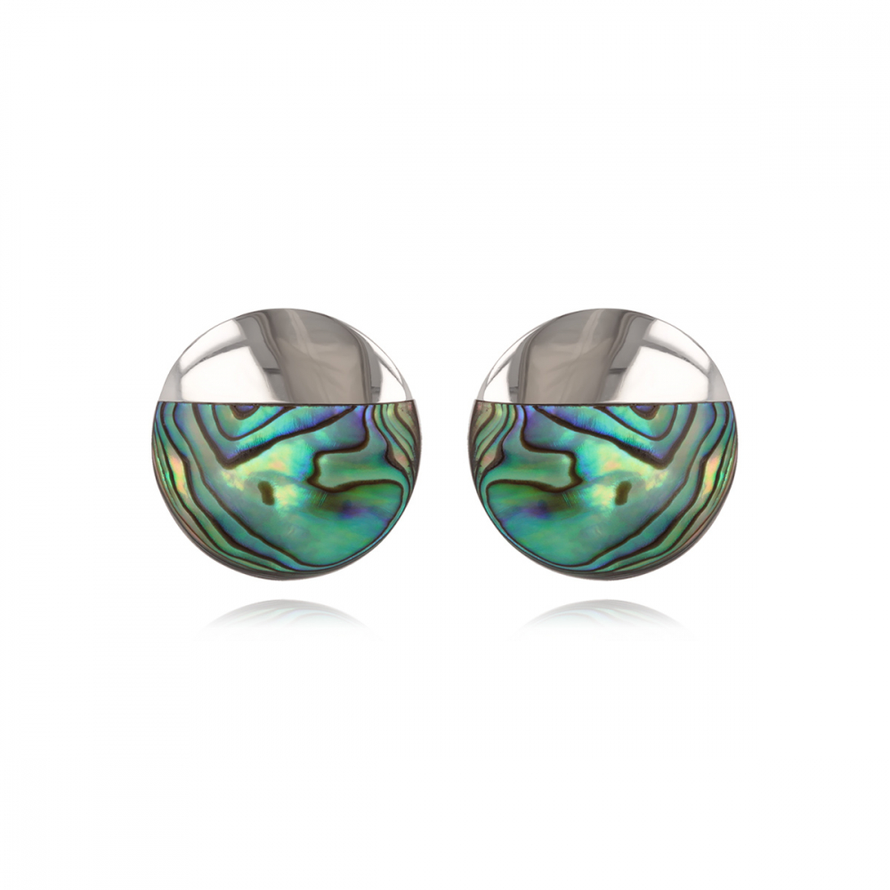 Abalone mother-of-pearl dangle earrings 3 discs round shape on rhodium 925 sterling silver