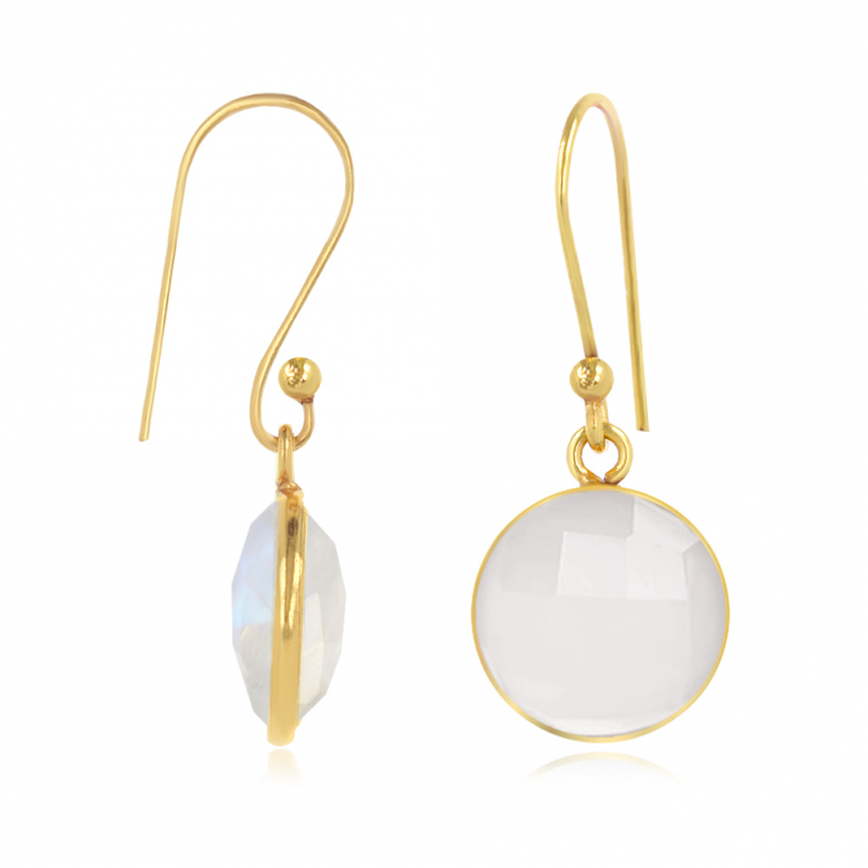 Gold Plated Faceted Moonstone Round Shape Earrings