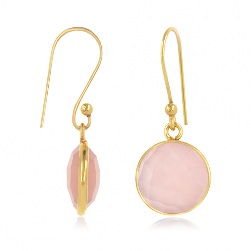 Gold Plated Faceted Pink Quartz Round Shape Earrings