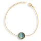 Labradorite stone bracelet round shape on gold plated