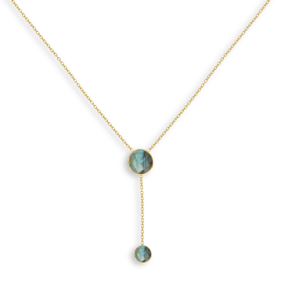 Collier double médaillon de Pierre de Labradorite facettée doré à l'Or