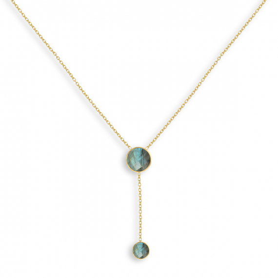 Gold Plated Faceted Labradorite Round Shape Necklace