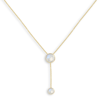 Collier double médaillon de Pierre de Lune facettée doré à l'Or