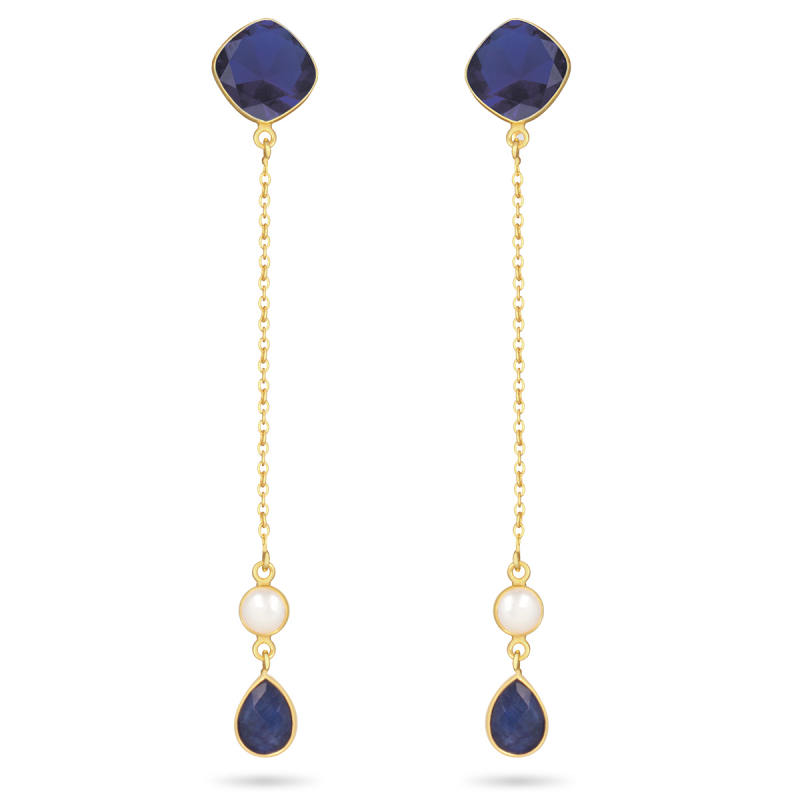 Labradorite stone earrings round shape on gold plated