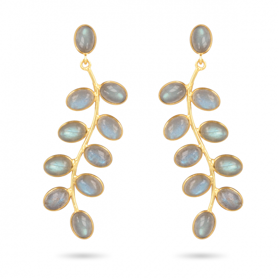 Gold Plated 925 Sterling Silver Labradorite Earrings