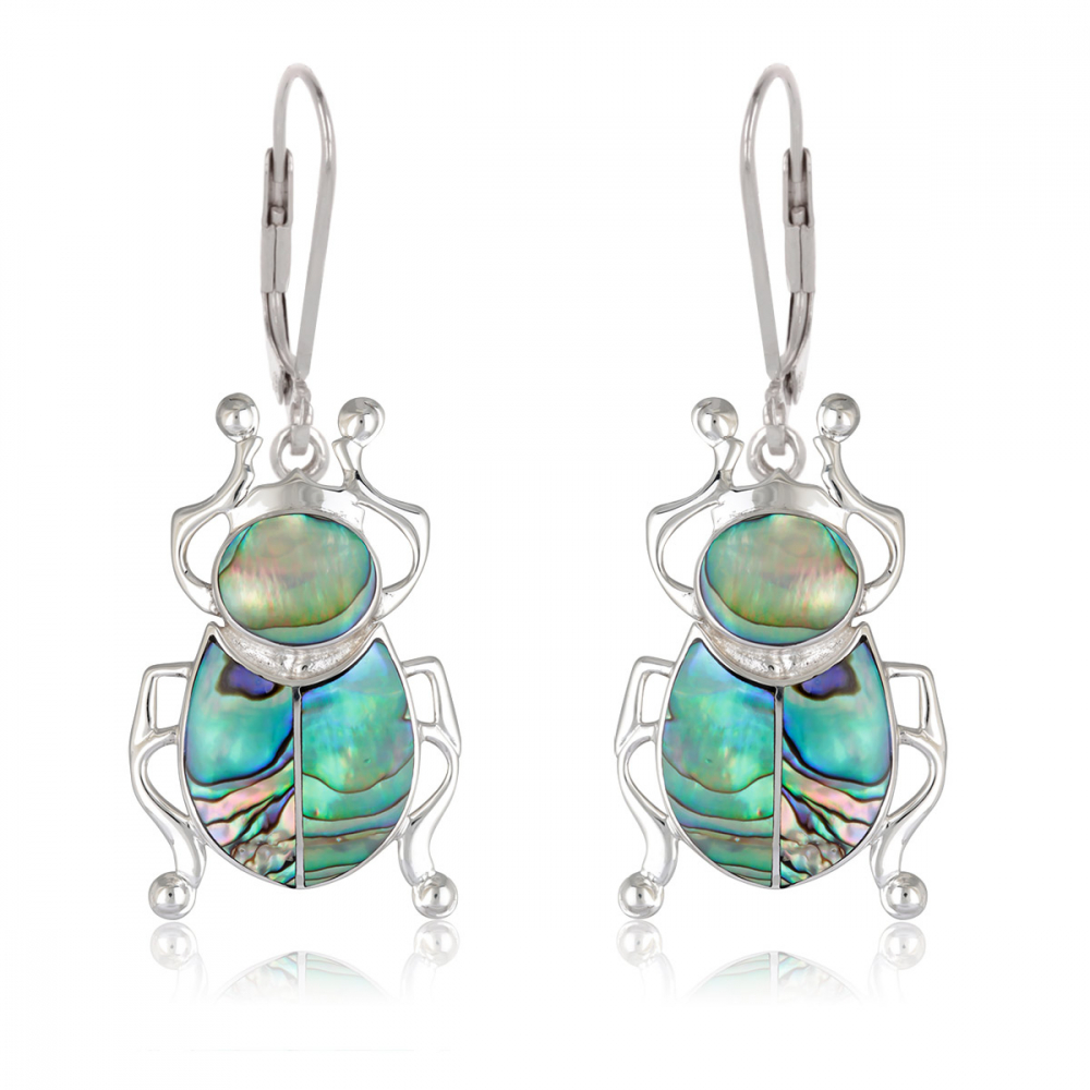 Gift Idea Jewelry Mother of Pearl Pendant Abalone- Sterling Silver Cross Shape-Woman-Man