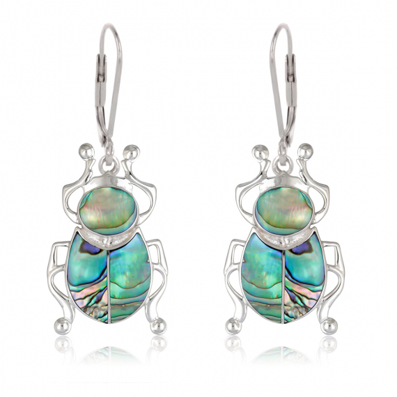 925 Sterling Silver Abalone Mother-of-pearl beetle Earrings