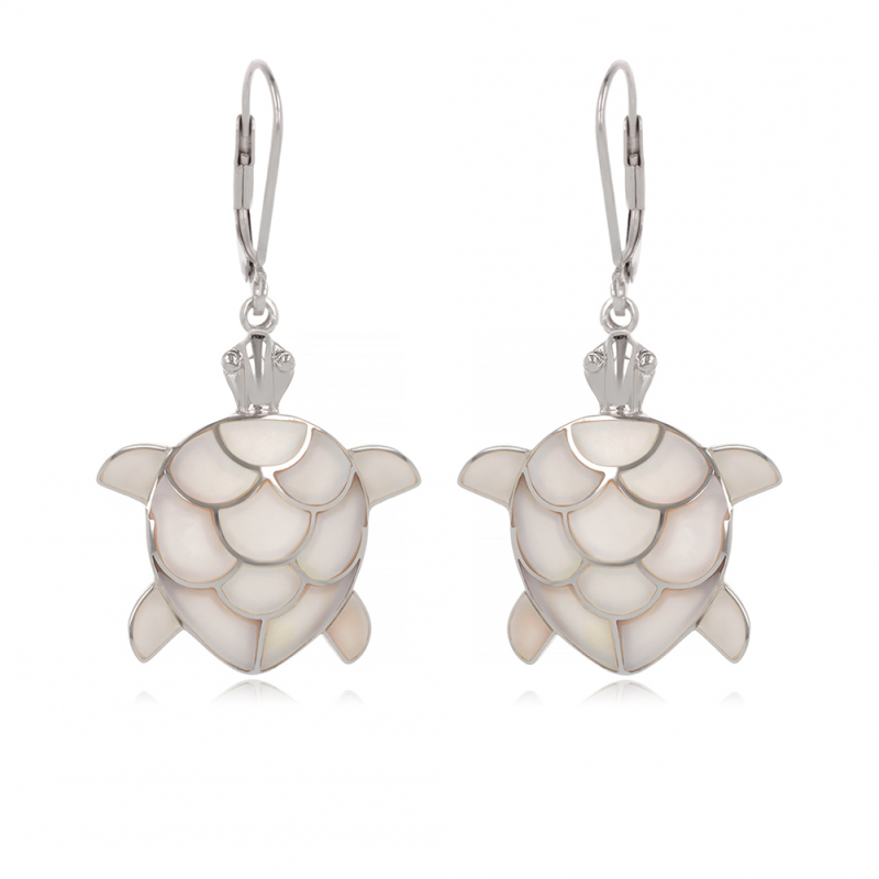925 Sterling Silver White Mother-of-pearl Tortoise Earrings