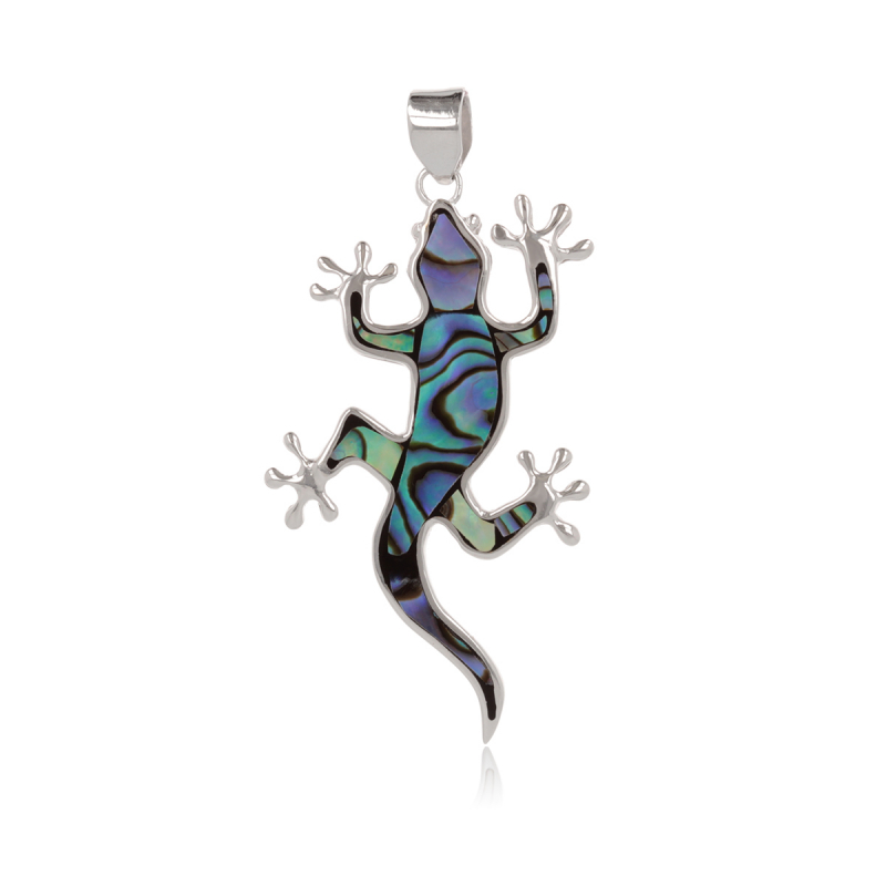 925 Sterling Silver Abalone Mother-of-pearl Lizard Pendant