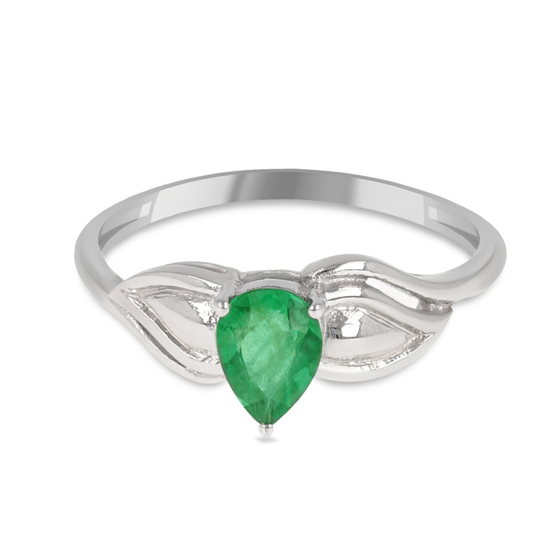 925 Sterling Silver Emerald pear shape ring