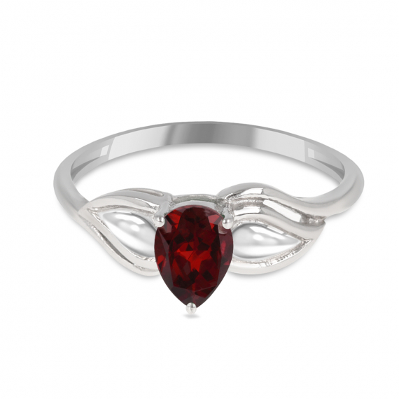 925 Sterling Silver Garnet pear shape ring