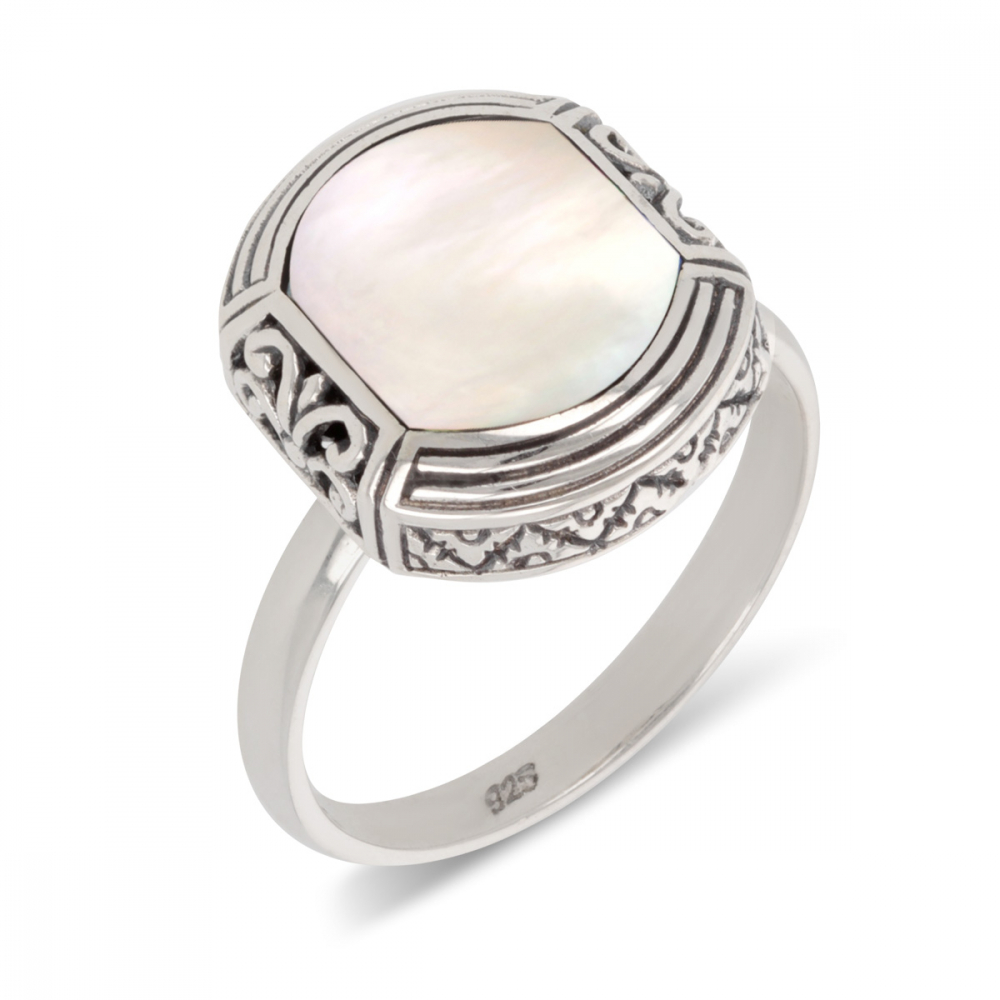 925 Sterling Silver White mother-of-pearl ethnic ring