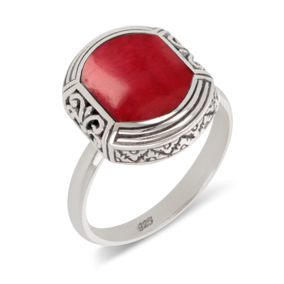 925 Sterling Silver Coral ethnic ring