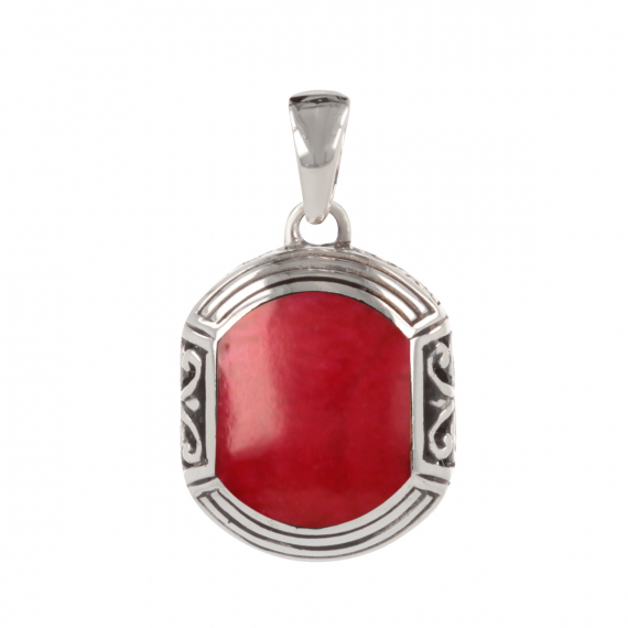 925 Sterling Silver Coral ethnic pendant