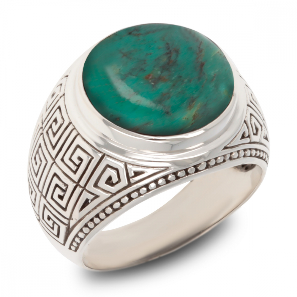 925 Sterling Silver Turquoise Biker Ring