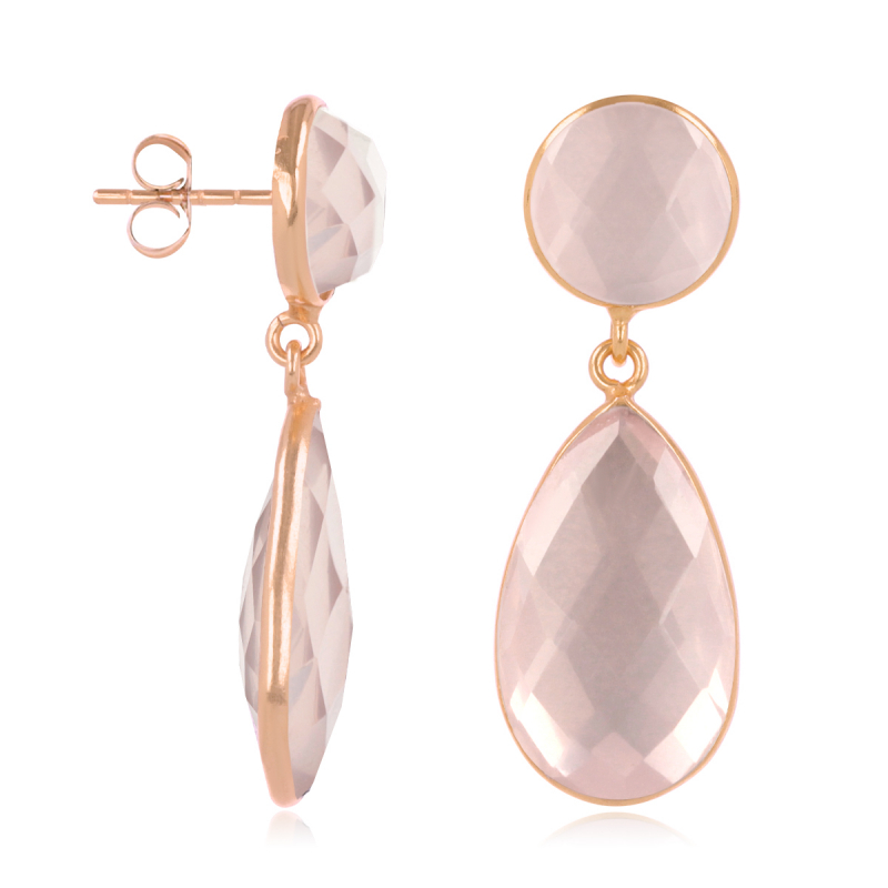 Gold Plated 925 Sterling Silver Faceted Pink Quartz Earrings