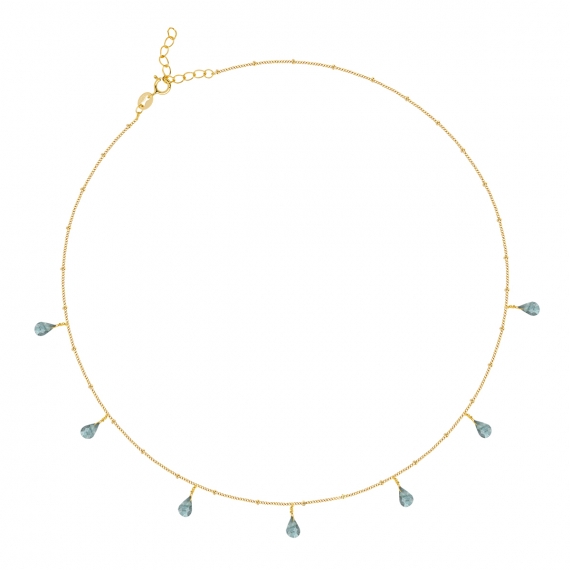 Gold Plated 925 Sterling Silver faceted Labradorite Necklace