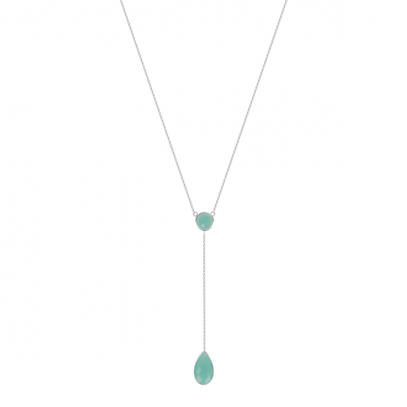 925 sterling silver necklace, two amazonite stones