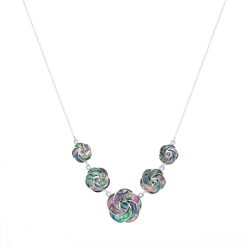 925 Sterling Silver Abalone Mother-of-pearl Flowers Necklace