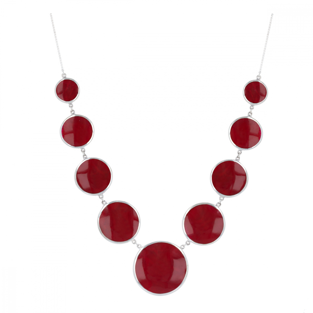 925 Sterling Silver Coral Round Shape Necklace