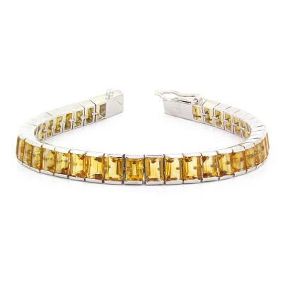 Bracelet Citrine Forme Rectangle et Argent 925