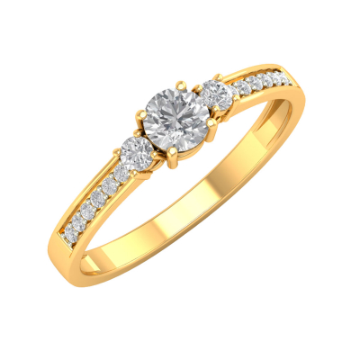 Bague Or 750 Jaune Diamants 1.7grs