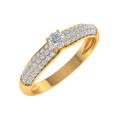 Bague Or 750 Jaune Diamants 1.978grs