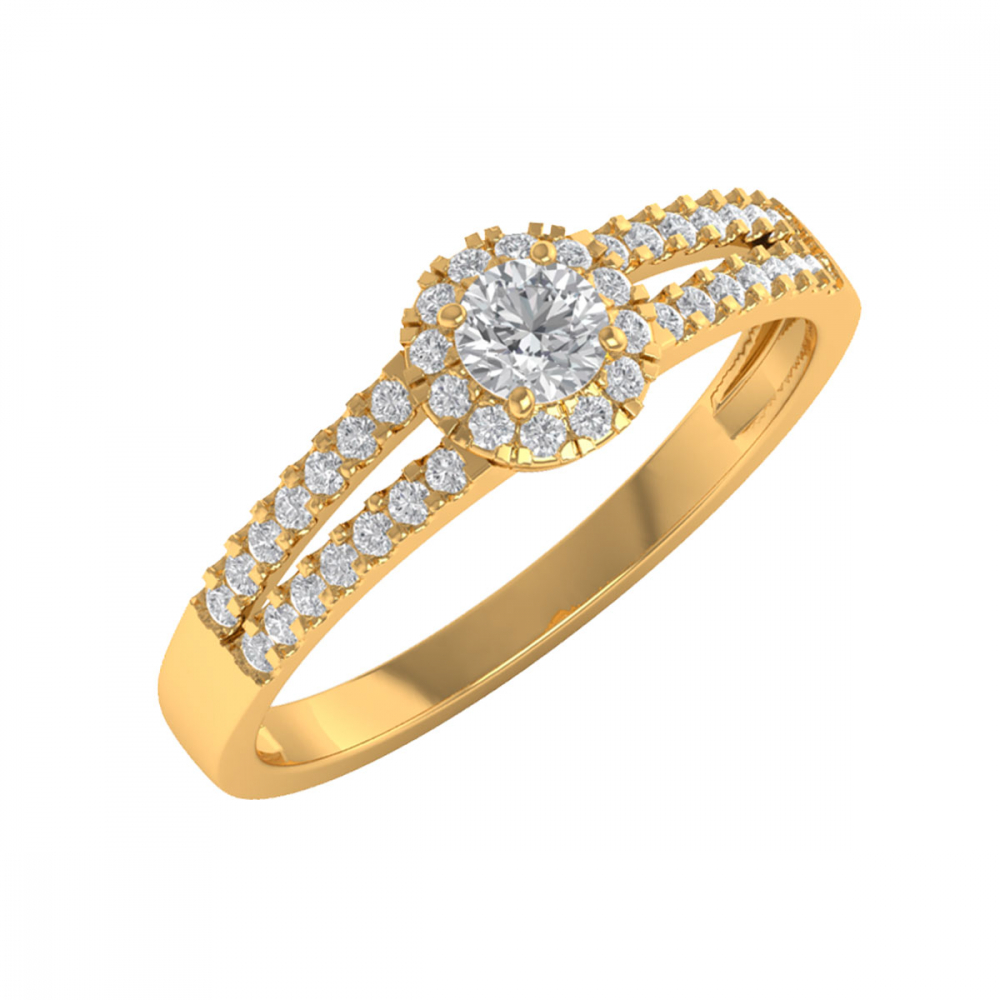 Bague Or 750 Jaune Diamants 1.902grs