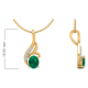 14K Gold Emerald Diamonds Necklace Pendant Gold Chain included
