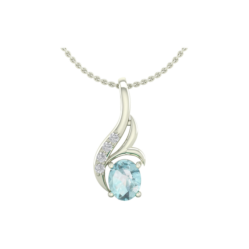 14K Gold Aquamarine Diamonds Necklace Pendant Gold Chain included