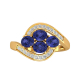 Bague Or Jaune Tanzanite et diamants 2.91grs