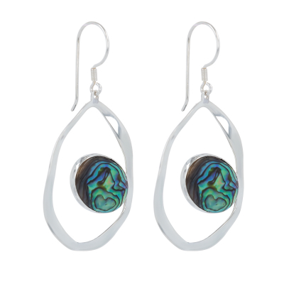 925 Sterling Silver Abalone Mother-of-pearl Earrings